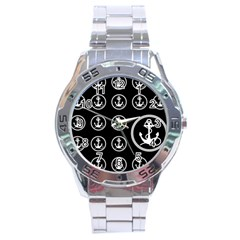 Anchor Pattern Stainless Steel Analogue Watch