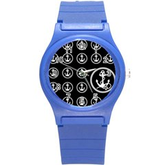 Anchor Pattern Round Plastic Sport Watch (s)