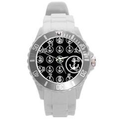 Anchor Pattern Round Plastic Sport Watch (l)