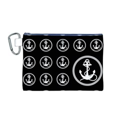 Anchor Pattern Canvas Cosmetic Bag (m)