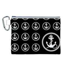 Anchor Pattern Canvas Cosmetic Bag (l)