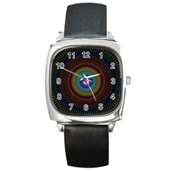 Artskop Kaleidoscope Pattern Ornamen Mantra Square Metal Watch