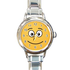 Smiling Face with Open Eyes Round Italian Charm Watch