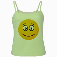 Smiling Face with Open Eyes Green Spaghetti Tank