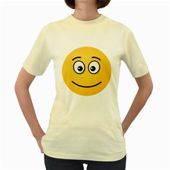 Smiling Face with Open Eyes Women s Yellow T-Shirt