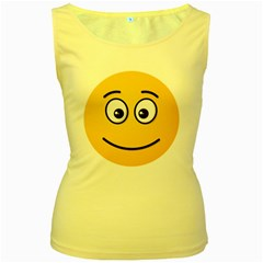 Smiling Face with Open Eyes Women s Yellow Tank Top