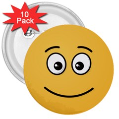 Smiling Face with Open Eyes 3  Buttons (10 pack)