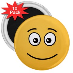 Smiling Face with Open Eyes 3  Magnets (10 pack)