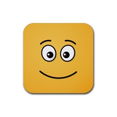 Smiling Face with Open Eyes Rubber Square Coaster (4 pack)