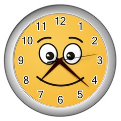 Smiling Face with Open Eyes Wall Clocks (Silver)