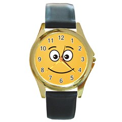 Smiling Face with Open Eyes Round Gold Metal Watch