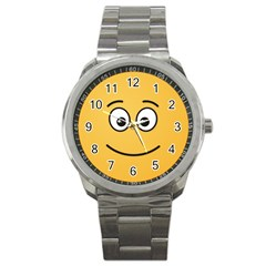 Smiling Face with Open Eyes Sport Metal Watch