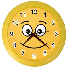 Smiling Face with Open Eyes Color Wall Clocks