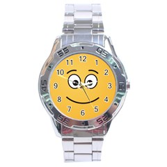 Smiling Face with Open Eyes Stainless Steel Analogue Watch