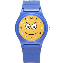 Smiling Face with Open Eyes Round Plastic Sport Watch (S)