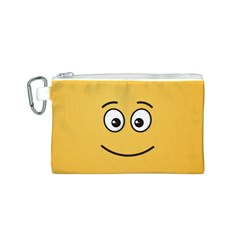 Smiling Face with Open Eyes Canvas Cosmetic Bag (S)