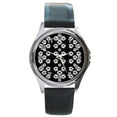 Dark Floral Round Metal Watch