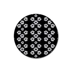 Dark Floral Rubber Coaster (Round)
