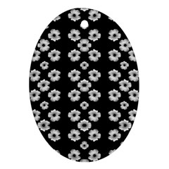 Dark Floral Oval Ornament (Two Sides)