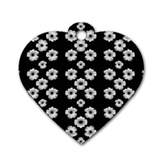 Dark Floral Dog Tag Heart (Two Sides)