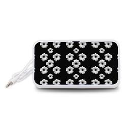 Dark Floral Portable Speaker (White)
