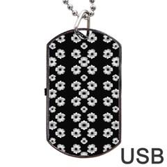 Dark Floral Dog Tag USB Flash (One Side)