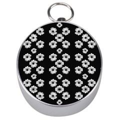 Dark Floral Silver Compasses