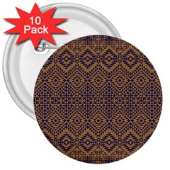 Aztec Pattern 3  Buttons (10 Pack)