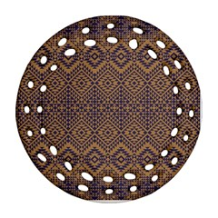 Aztec Pattern Round Filigree Ornament (two Sides)
