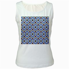 Background Pattern Geometric Women s White Tank Top