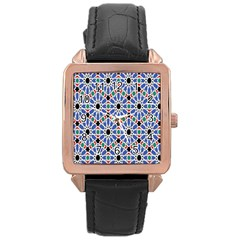 Background Pattern Geometric Rose Gold Leather Watch