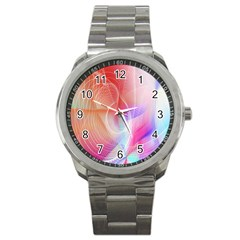 Background Nebulous Fog Rings Sport Metal Watch