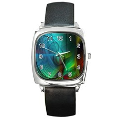 Background Nebulous Fog Rings Square Metal Watch