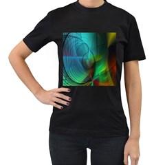 Background Nebulous Fog Rings Women s T Shirt (black) (two Sided)