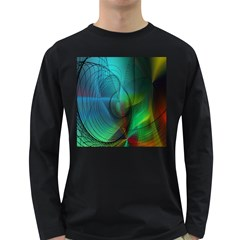 Background Nebulous Fog Rings Long Sleeve Dark T Shirts