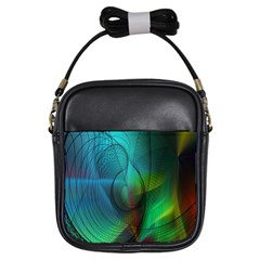 Background Nebulous Fog Rings Girls Sling Bags