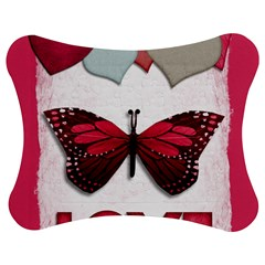 Pink Butterfly Love Jigsaw Puzzle Photo Stand (Bow)