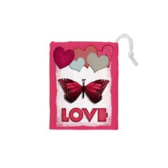Pink Butterfly Love Drawstring Pouches (XS)