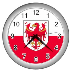 Flag of South Tyrol Wall Clocks (Silver)