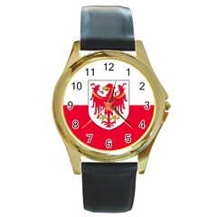 Flag of South Tyrol Round Gold Metal Watch