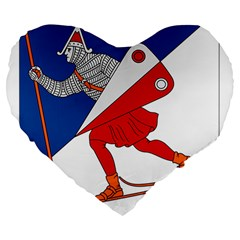 Lillehammer Coat of Arms  Large 19  Premium Flano Heart Shape Cushions