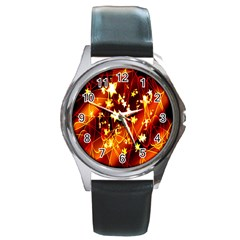 Background Pattern Lines Oval Round Metal Watch