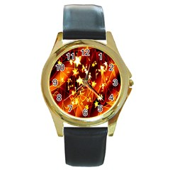 Background Pattern Lines Oval Round Gold Metal Watch