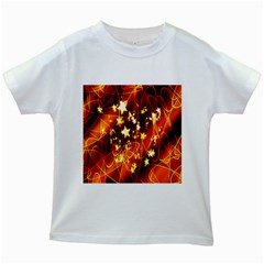 Background Pattern Lines Oval Kids White T Shirts