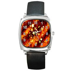 Background Pattern Lines Oval Square Metal Watch
