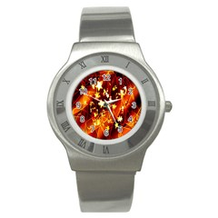 Background Pattern Lines Oval Stainless Steel Watch