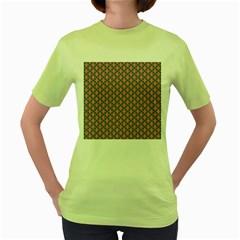 Background Pattern Texture Women s Green T Shirt