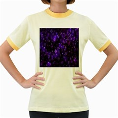 Bokeh Background Texture Stars Women s Fitted Ringer T Shirts