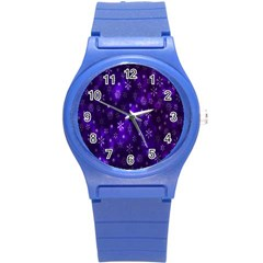 Bokeh Background Texture Stars Round Plastic Sport Watch (s)
