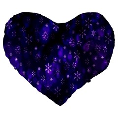 Bokeh Background Texture Stars Large 19  Premium Flano Heart Shape Cushions